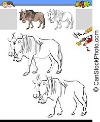 drawing and coloring worksheet with wildbeast animal