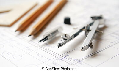 Drawing and drawing tools, compasses, pencils, ruler. The concept of teaching in high school architecture