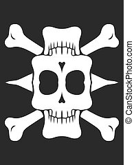 drawing and painting skull with bones in black and white