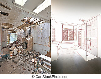 Drawing and planned Renovation of a bathroom