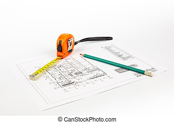 Drawing and tools on a light background.