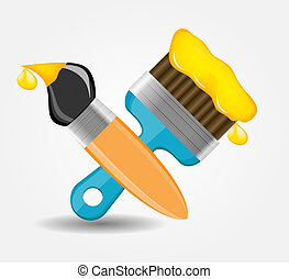 Drawing and Writing tools icon vector illustration