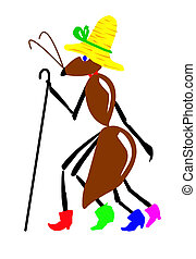 drawing ant on white background