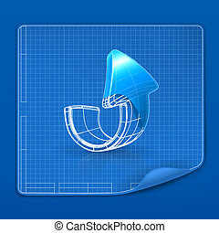 Drawing arrow blueprint, vector