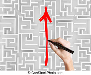 Drawing arrow on maze top - Business obstacle overcoming...