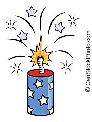 4th of july crackers sparking - Drawing Art of 4th of july...