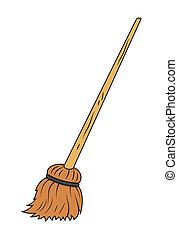 Drawing Art of broom clip-art vector Illustration