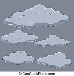 Clouds Vector Illustrations Set - Drawing Art of Cartoon...