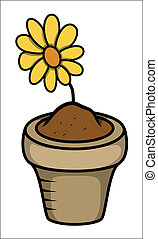 Cartoon Flower Pot Vector