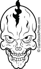 Retro Skull Tattoo Vector - Drawing Art of Cartoon Retro...