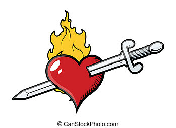Sword in Heart with Flames - Drawing Art of Cartoon Sword in...