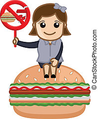 No Junk Food Allowed - Drawing Art of Cartoon Young Cute...