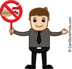 No Junk Food Allowed - Drawing Art of Cartoon Young Man...