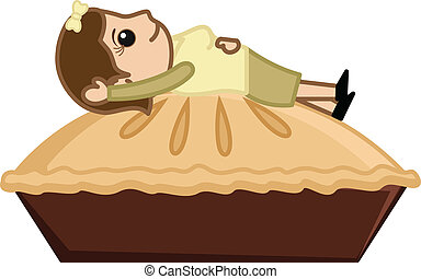 Woman Lying on Apple Pie Cake - Drawing Art of Cartoon Young...