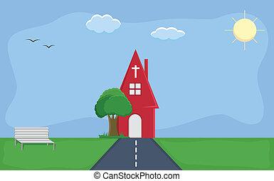 church - Cartoon Background Vector