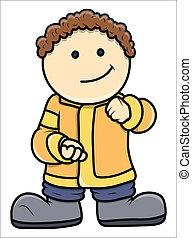 Funny Fat Cartoon Boy Vector