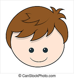 Cute Boy cartoon Face vector
