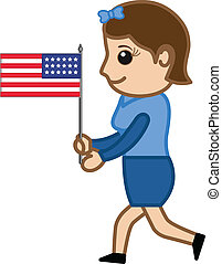 Woman Running with US Flag