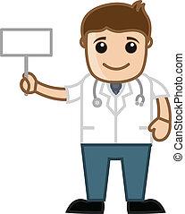 Doctor Holding Blank Billboard