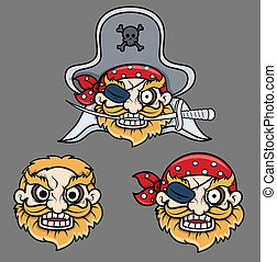 Drawing Art of Evil Pirate Captain Laughing Faces with Sword Vector Illustration