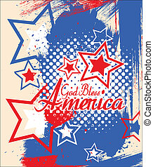 Drawing Art of God Bless America - 4th of July Vector theme Design