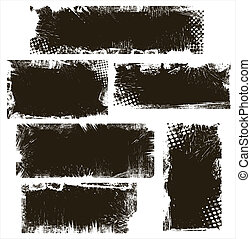 Grunge Backgrounds Vector Banners - Drawing Art of Grunge...