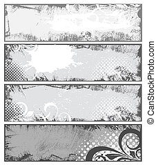 Drawing Art of Grunge Banner for Various Use - Vector Set