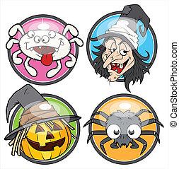 Halloween glossy vector stickers