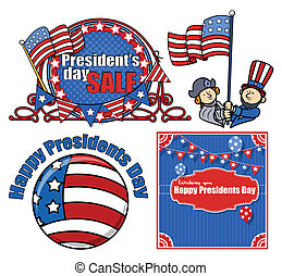Happy Presidents Day Vector Set
