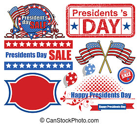 Presidents Day Vector Elements - Drawing Art of Presidents...