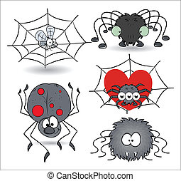 set of cartoon funny spiders vector