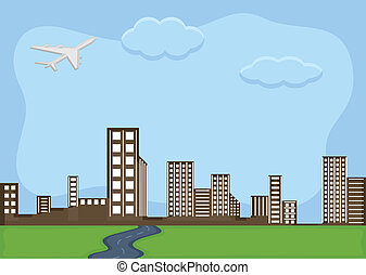 Urban City - Cartoon Background