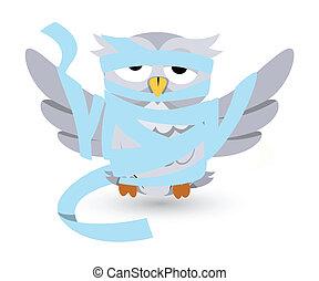 cartoon owl stucked in bandages