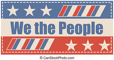 Drawing Art of We the people vector Banner Design