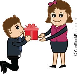 Presenting a Gift Box to Girl