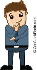 Young Cartoon Businessman Thinking