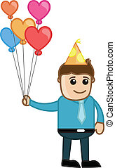 Lover Boy Holding Heart Balloons