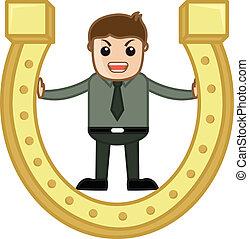 Man Stuck in Golden Horseshoe