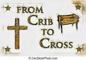 drawing), arte, (line, cruz, cristiano, pesebre