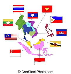 drawing  ASEAN Economic Community, AEC