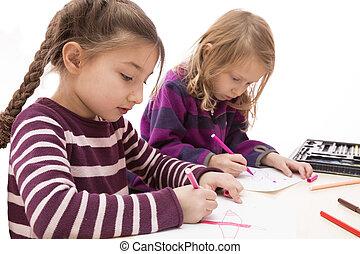 Drawing baby girls