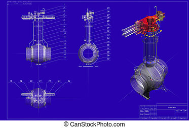 drawing ball valve with three-dimensional shape moving over ...