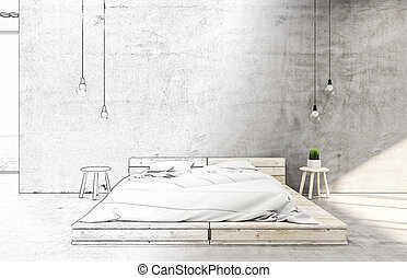 Drawing bedroom interior with bed
