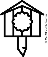 Drawing bird house icon, outline style