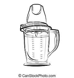 Drawing black and white kitchen blender