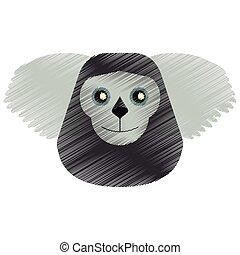 drawing black bearded saki animal brazil