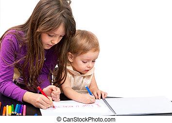 drawing., blanc, filles, deux, isolé