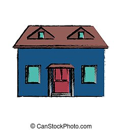 drawing blue house red door simple