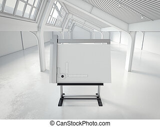 Drawing board in a modern loft interior. 3d rendering