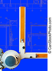 Drawing board with blue blueprint